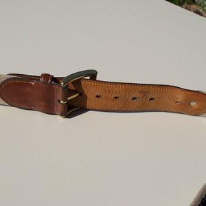 Brooks Brothers Accessories - Brooks Brothers Canvas Leather Lamb Logo Belt 36